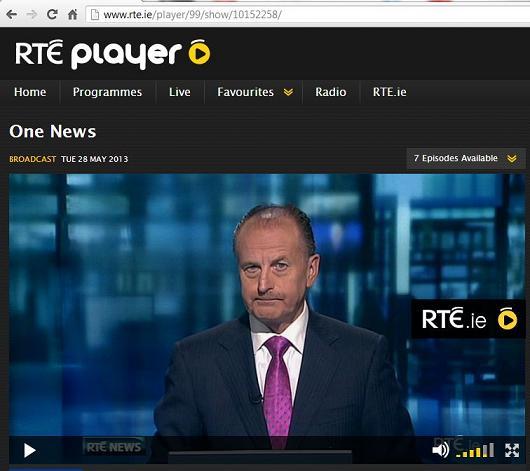 RTE Player with Irish IP